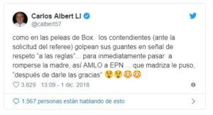 Carlos Albert también habló sobre el discurso de López Obrador en el Congreso