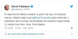 Faitelson celebró que la medallista olímpica Ana Gabriela Guevara