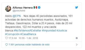 Poncho Herrera sobre el saldo que dejó el sexenio del priista Enrique Peña Nieto