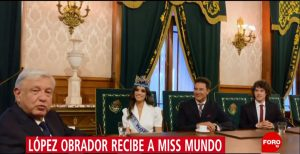 AMLO recibe a Miss Mundo 2018 en Palacio Nacional